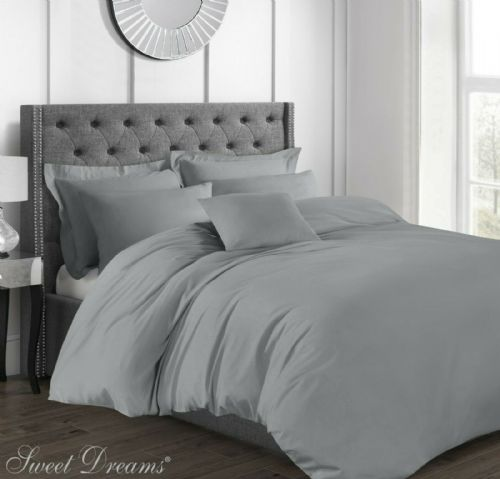 Hotel Quality Luxury 200 Thread Count 100% Pure Cotton Percale Duvet Cover, King Size, Grey